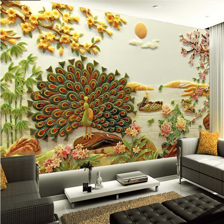 3D photo wallpaper rich jade flower sofa TV Chinese Peacock 3D stereo bedroom living room hotel restaurant wallpaper mural free shipping living room bedroom office traditional magic chinese dragon wallpaper ktv bar restaurant hotel wallpaper mural