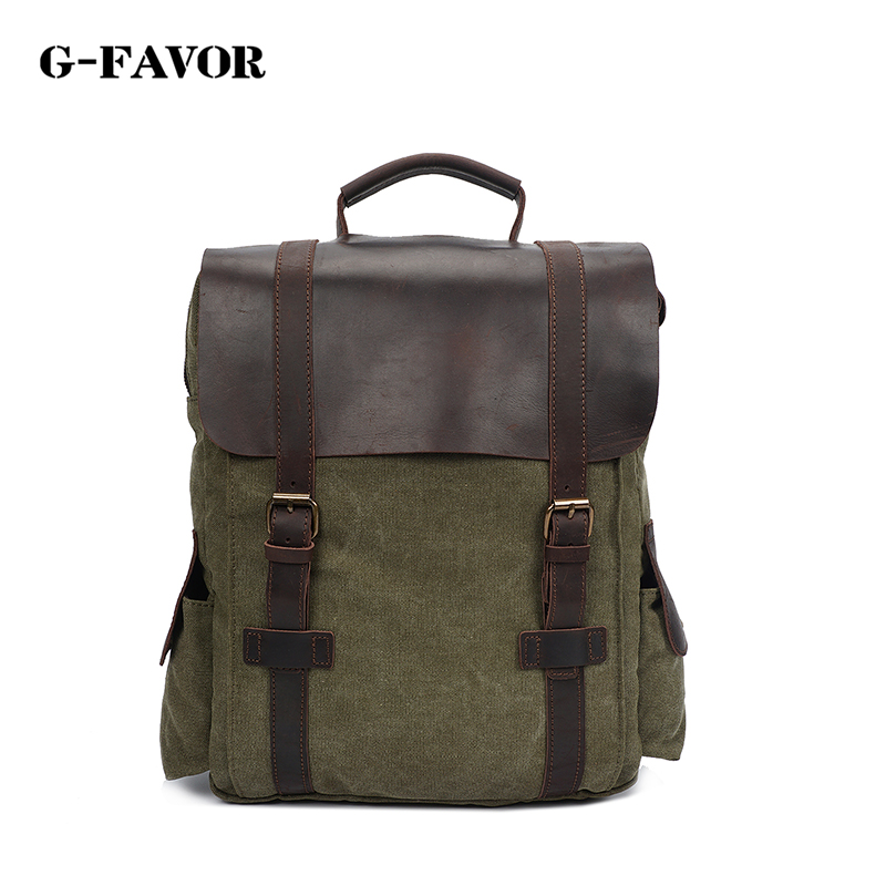 Men Casual Canvas Backpacks Vintage School Bags Young Large Capacity Travel Bag Women Mochila Leather Laptop Backpack Rucksack casual men genuine leather backpacks male large capacity shoulder travel bag daypack student laptop backpack school bags mochila