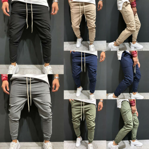 Stylish Men Solid-color Lace-up Pockets Slim Casual Nine-points Pants Sport Gym Slim Fit Running Joggers Long Trousers M-XXXL