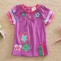 Bandera en 2015, las nuevas flores de verano baby & kids algodón bordado moda novela cuello redondo Camiseta con mangas cortas G6109