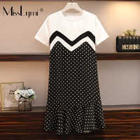 XL 5XL Plus Size Women Casual Dress Summer 2019 Fashion Cotton Short Sleeve Patchwork Polka Dot Print Loose Ruffle Dresses
