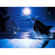 Whale moon diamond Embroidery diy painting mosaic diamant 3d cross stitch pictures H498