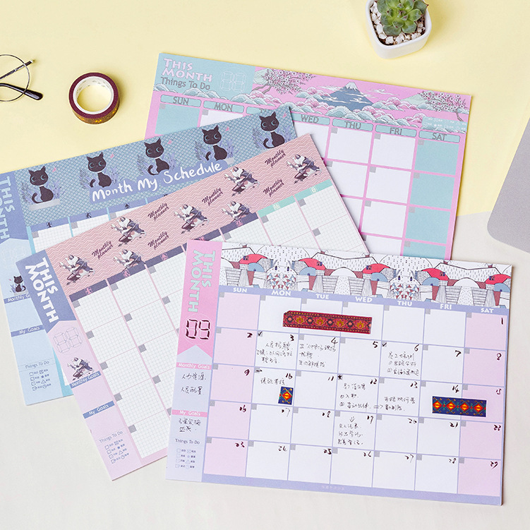 Cute Monthly Schedule Paper 28.5*21cm Undated  Month Planner 20 SheetsCute Monthly Schedule Paper 28.5*21cm Undated  Month Planner 20 Sheets