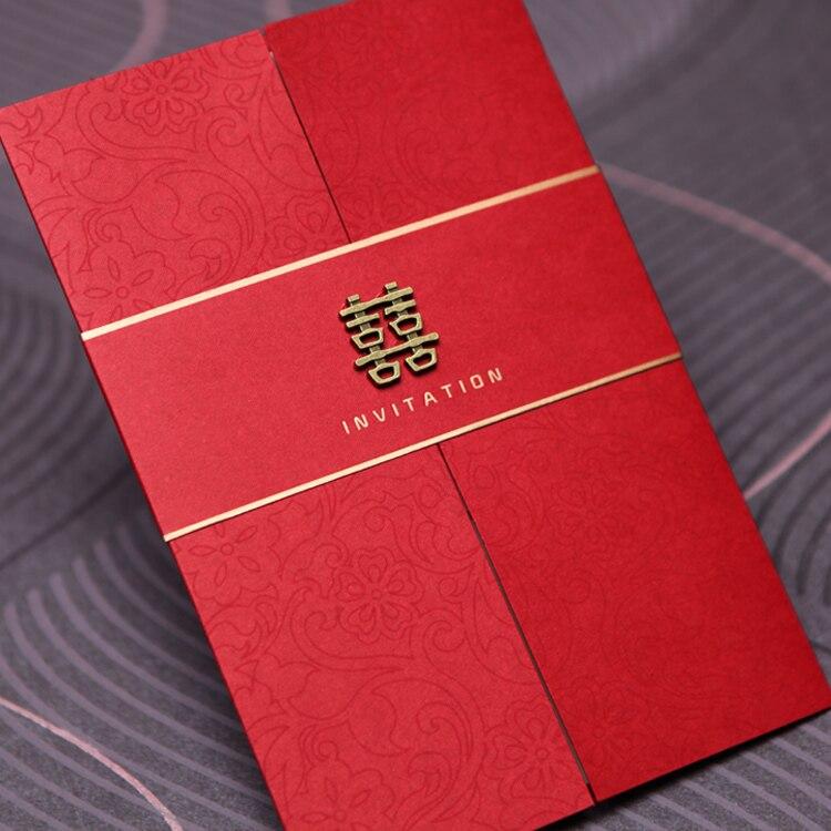 25 uds. Invitaciones de boda Rojas China elegantes tarjetas de invitación de boda de lujo con sobres-in Tarjetas e invitaciones from Hogar y Mascotas    1