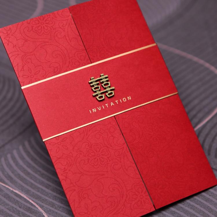 Wedding Invitations From China: 25pcs Red Wedding Invitations China Elegant Luxury Wedding