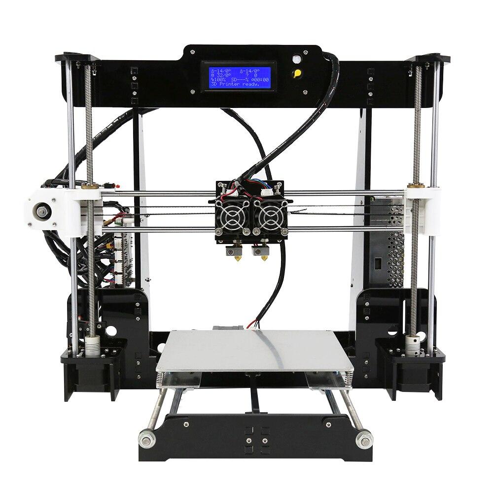 Alta Precisão Dupla Extrusora Prusa i3 Kit Anet A8M imprimante 3d DIY Desktop Impressoras 3D LCD2004 3D Impressora com PLA filamento