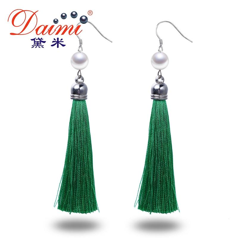 DAIMI Silver Earrings Long Tassles Drop Earrings 9 10MM White Pearl Earrings 6 Colors Green Orange