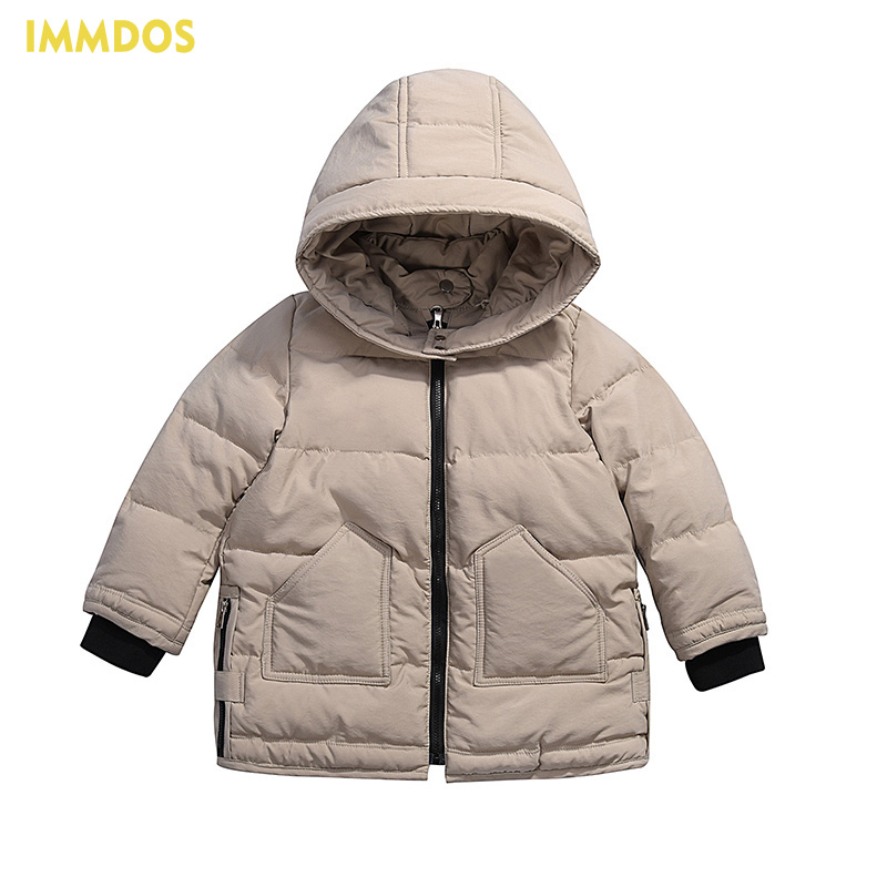 IMMDOS Winter New Arrival Down Jacket For Boy Children Hooded Outwear Kids Thick Coat Baby Long Sleeve Pocket Fashion Clothing immdos children coat for girl winter wool outerwear kids long sleeve hooded warm baby clothing girls solid fashion jacket
