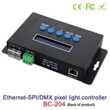 Artnet Ethernet Naar Spi/Dmx Pixel Led Licht Controller BC 204 DC5V ~ 24V Uitgangsstroom 7Ax4CH; fabriek Software Met V1/V2 Versie