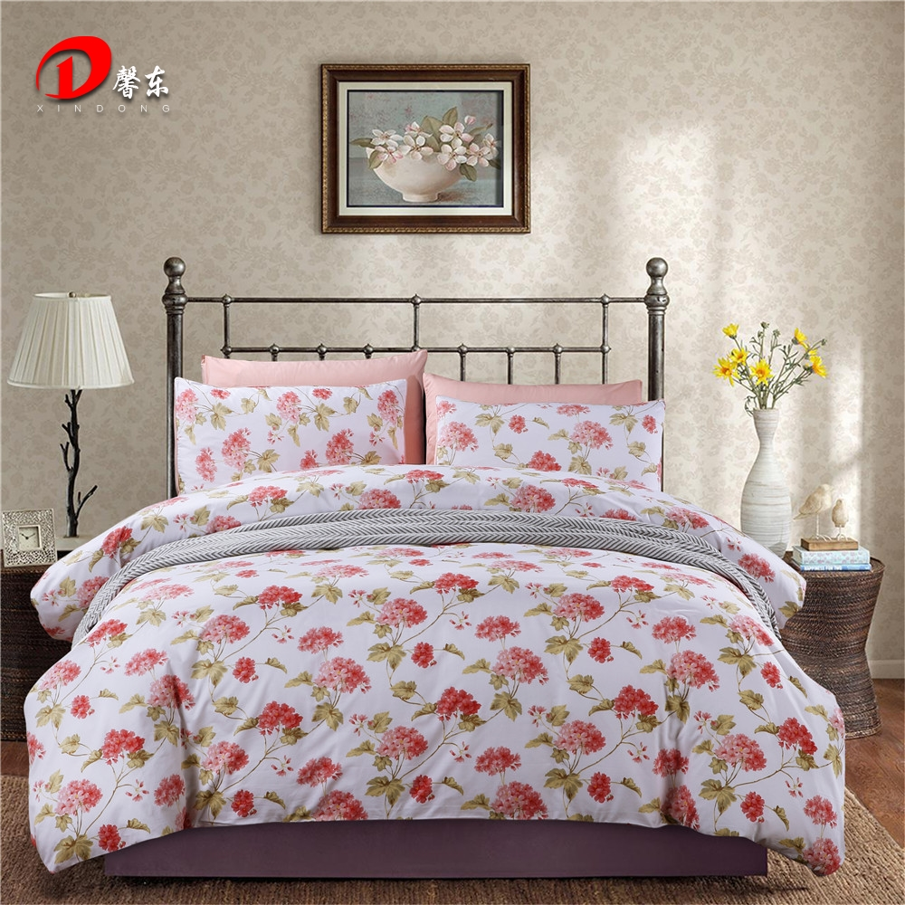 White and red bed sheets - White Satin Bed Set Luxury Egyptian Cotton Red Floral Bedding Set King Queen Size High Quality