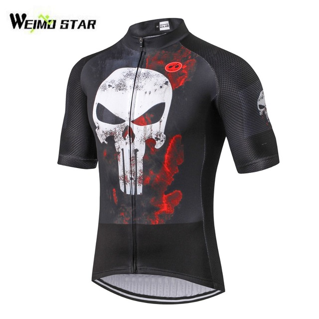 Men's Breathable Short Sleeve Cycling Jersey Quick Dry Biking Shirts For Outdoor Sports Punisher Black