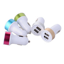 Dual USB Car Charger 2 USB Ports car Charger metal round head car battery charger for iphone for Samsung xiaomi huawei mobiles(China)