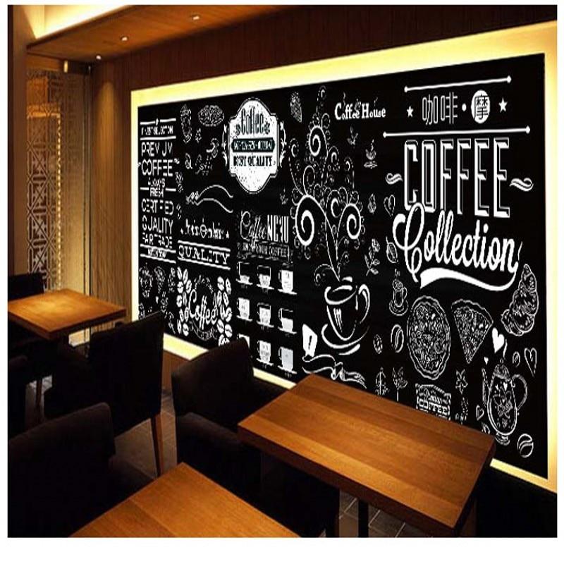 Free shipping European black white retro coffee graffiti wallpaper blackboard hand painted bar cake tea dessert shop mural hearth