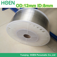 100m/lot PU12*8 12mm(OD)*8mm(ID) transparency color Pneumatic Component PU Tube Air Hose Pipe