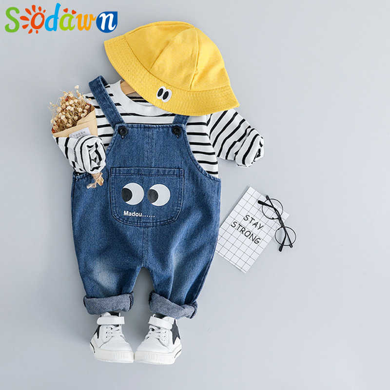 Children Clothes 2019 Spring New Baby Boy Clothes Baby Girl Clothes  Long-Sleeved T-Shirt + Cute Cartoon Denim Bib 2-Piece Set