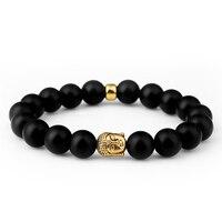NYUK Trendy Black Scrub Beads Bracelet Buddha Head Cornelian With Elastic Rope Men Women Hip Hop Fashion Jewelry With Gift Box