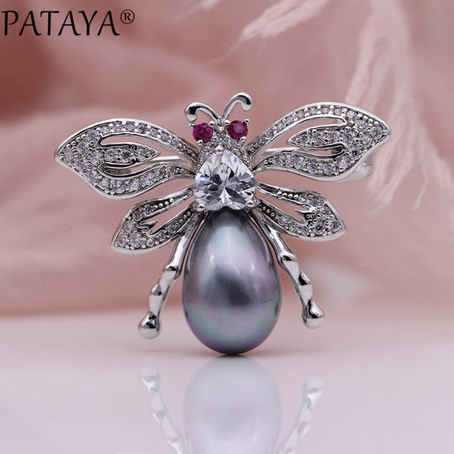 PATAYA New Animal Brooches Women Fashion Lovely Fine Wedding Jewelry White Gold Natural Zircon Shell Pearls Collar Bars Pins