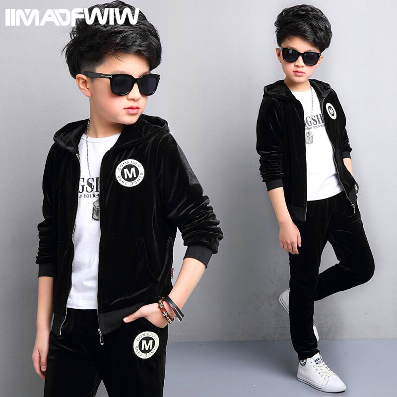 где купить 2017 new children's clothing boys spring suit spring children's gold velvet sportswear in the big children spring and autumn two по лучшей цене