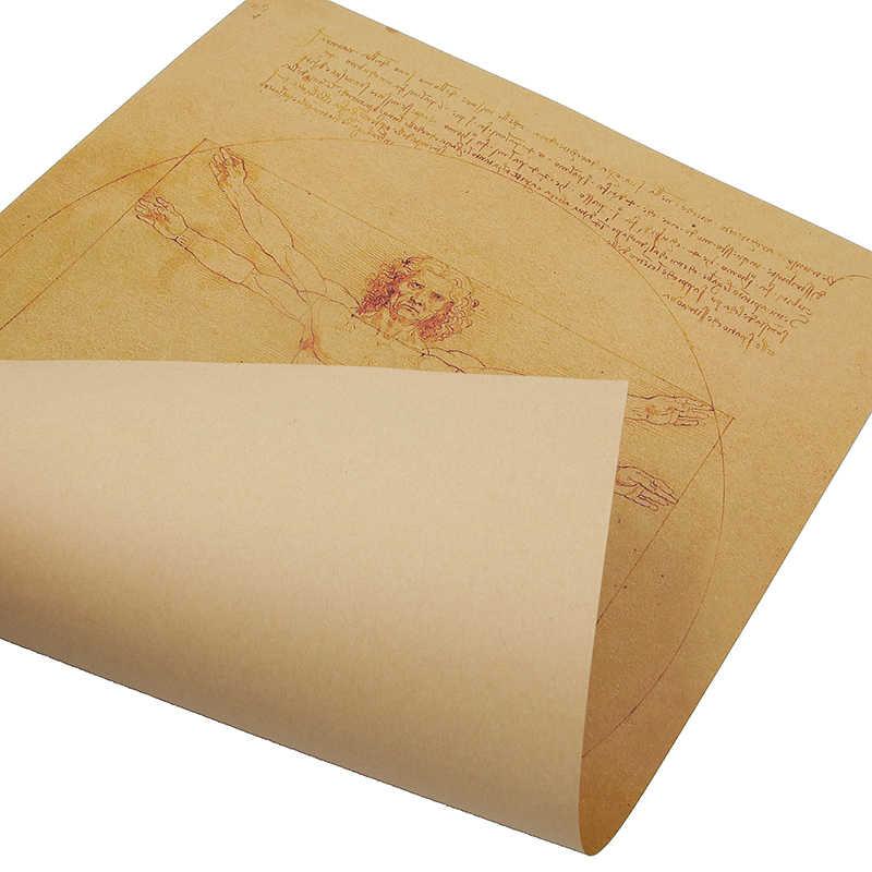 Dlkklb Leonardo Da Vinci Naskah Vitruvian Man Poster Nostalgia Vintage Inti Kertas Kraft Stiker Dinding Lukisan Dekoratif