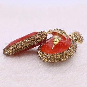 Image 5 - Pendientes colgantes de piedra facetada para mujer, aretes de gota de oro con diamantes de imitación, joyería de gemas 2432, 5 pares