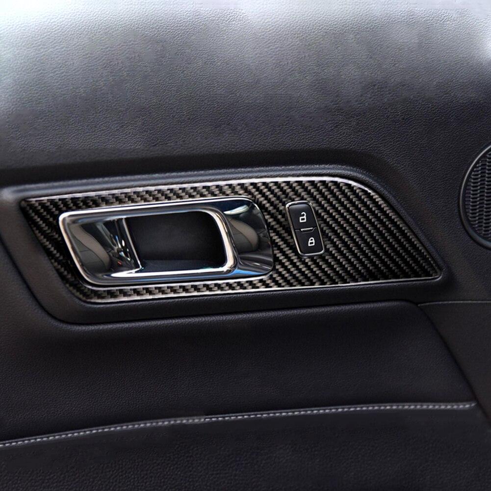 פורד 1 מסגרת ידית דלת המכונית סיב פחמן זוג Trim מדבקה עבור פורד מוסטנג 15-17 (2)