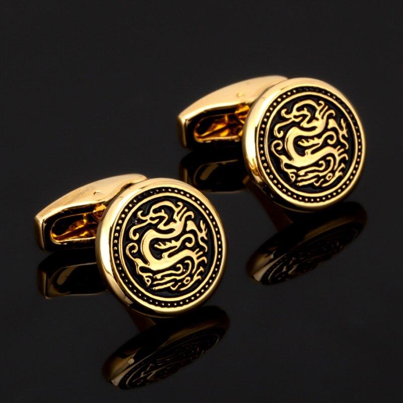 DY Nouveau haut de gamme or rond dragon motif, boutons de manchette, mode cristal fleurs, hommes Français chemise boutons de manchette