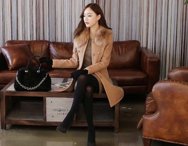 new Long Autumn Winter Coat Women Wool Blends Coats Female Jacket Winter Woman Coat Warm Windbreaker Abrigos Mujer Wool Women 5