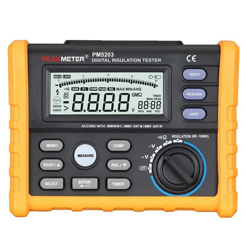 PEAKMETER MS5203 analogique numérique 0.1 ~ 1000V testeur de résistance d'isolation megger mètre 0.01 ~ 10G Ohm testeur