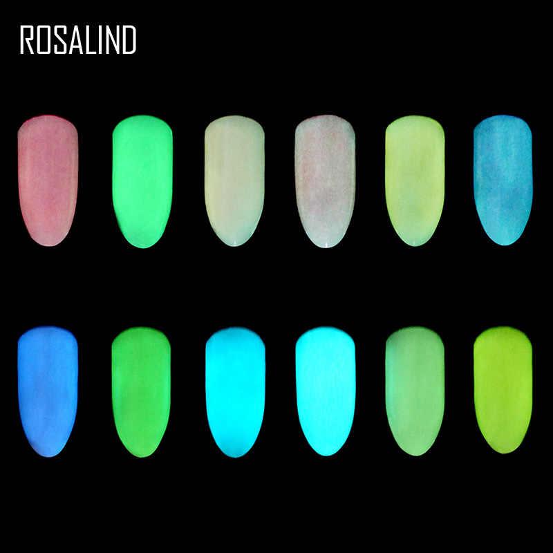 ROSALIND uñas brillo efecto fluorescente Polvo de pigmento fosfuro UV uñas Gel manicura brillo uñas arte decoración herramientas
