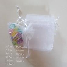 1000 pièces blanc cadeau sacs pour bijoux sacs et emballage Organza sac cordon sac mariage/femme voyage stockage vitrines
