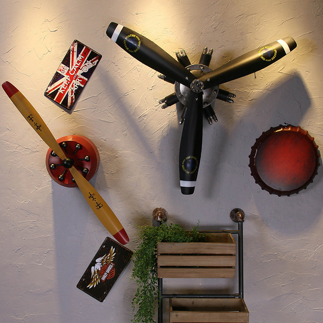 Wrought Iron Adornment Wall Decoration Household Vintage Aircraft Propeller Metal Crafts Home Garden Pendant Props