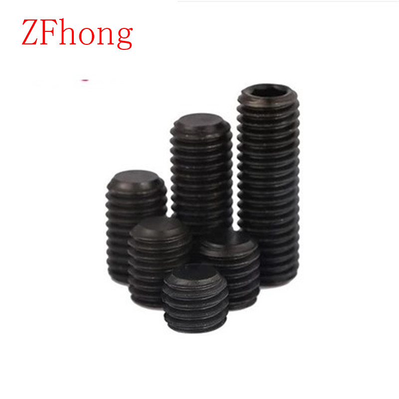 DIN913 Grade12.9 M5*5/6/8/10/12/16  flat end hex socket set screw grube screw 20pcs m3 6 m3 x 6mm aluminum anodized hex socket button head screw