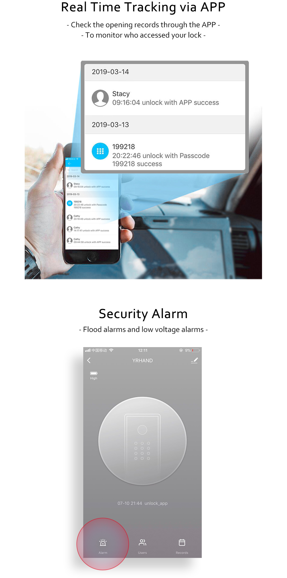 YRHAND Biometric Smart Fingerprint Lock Pad for Intelligent Security With WiFi and Password Protected 12