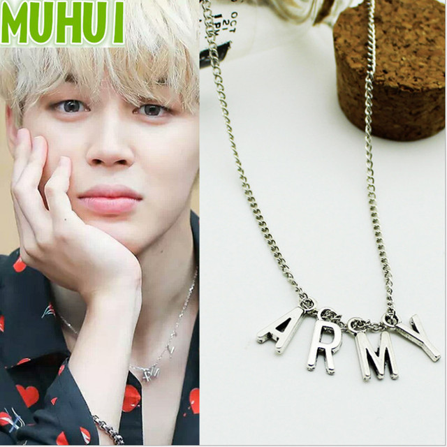 US $1 27 6% OFF|Kpop BTS Bangtan Boys Fan Club ARMY Pendant Necklace Women  Men Jewelry Collier C057-in Pendant Necklaces from Jewelry & Accessories on