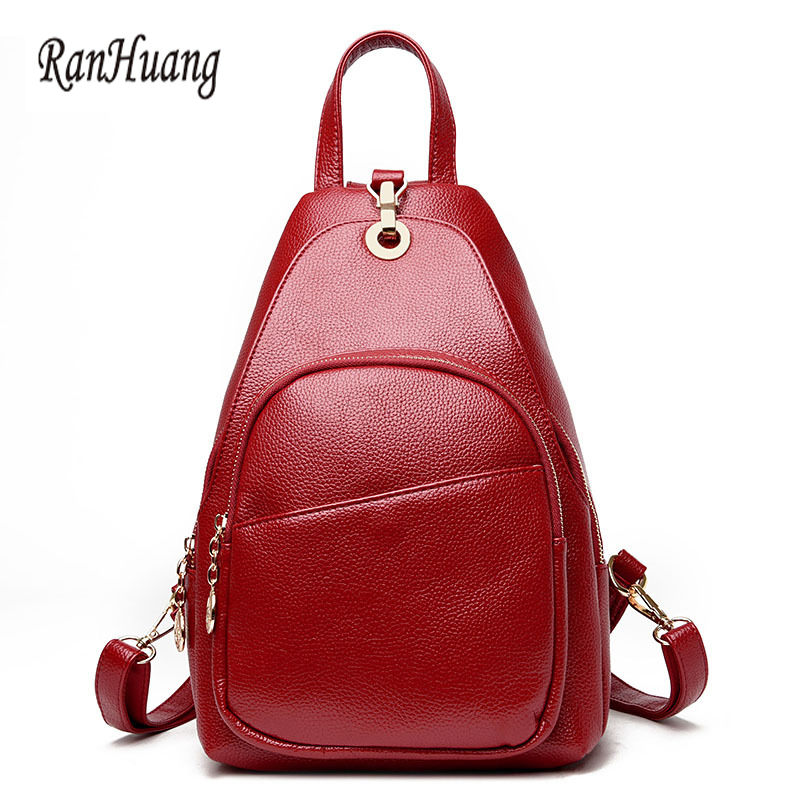 RanHuang Genuine Leather Backpack New 2017 Women Fashion Backpack School Bags For Teenage Girls Black mochila feminina A532 2017 new women galaxy star universe space canvas backpack multicolor school bags for girls mochila feminina teenage campus bags