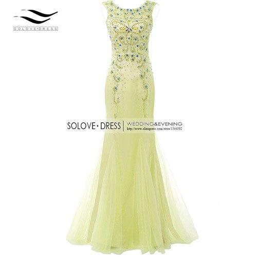 Элегантная ткань Накладка для кнопки рукав Кристалл бисером длинное платье выпускного вечера тюль русалка платье выпускного вечера Longo Vestido de festa(SLP-011 - Цвет: Yellow