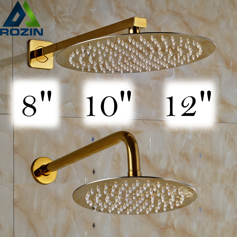 Free Shipping Golden 8/10/12 inch Ultrathin Rainfall Shower Head with Wall Mount Brass Shower Arm
