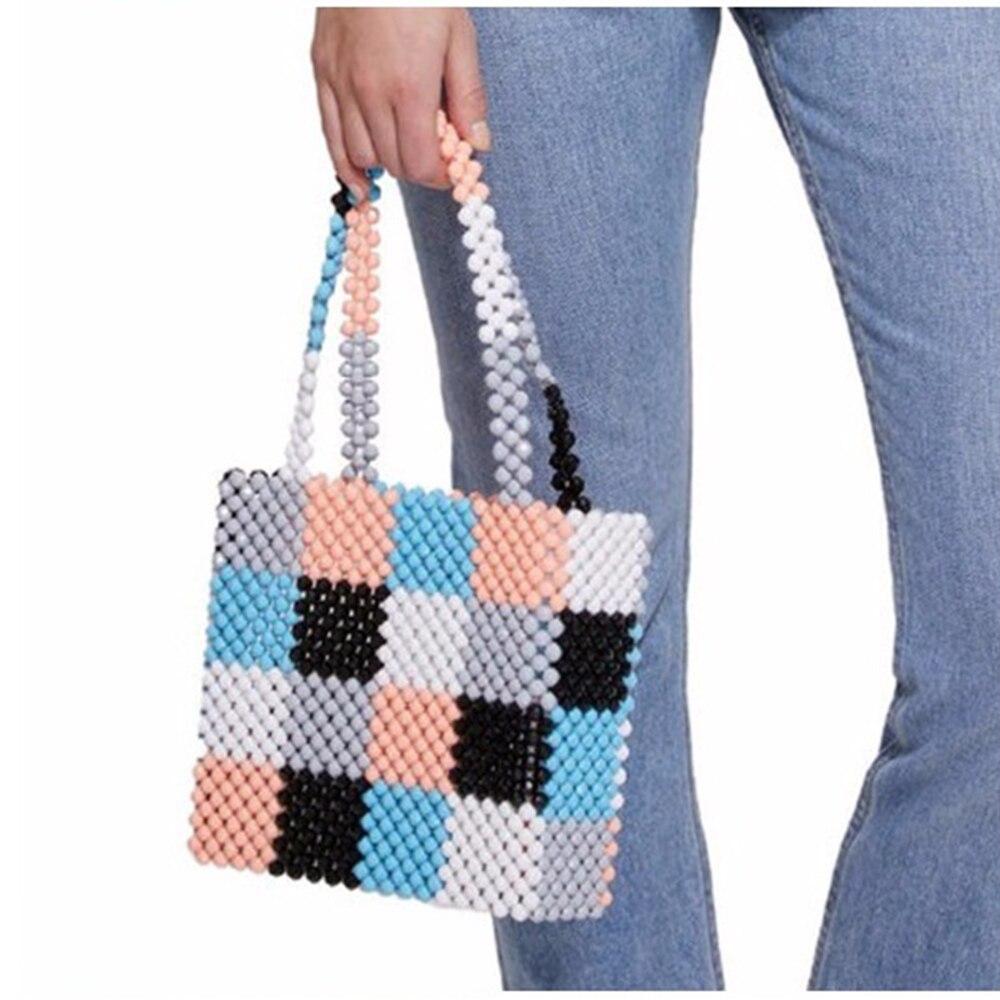 Manglad luxe Design acrylique perles sac à la main coloré perle diamant sac à main à la main tissé perles petit fourre-tout sacs de soirée - 3