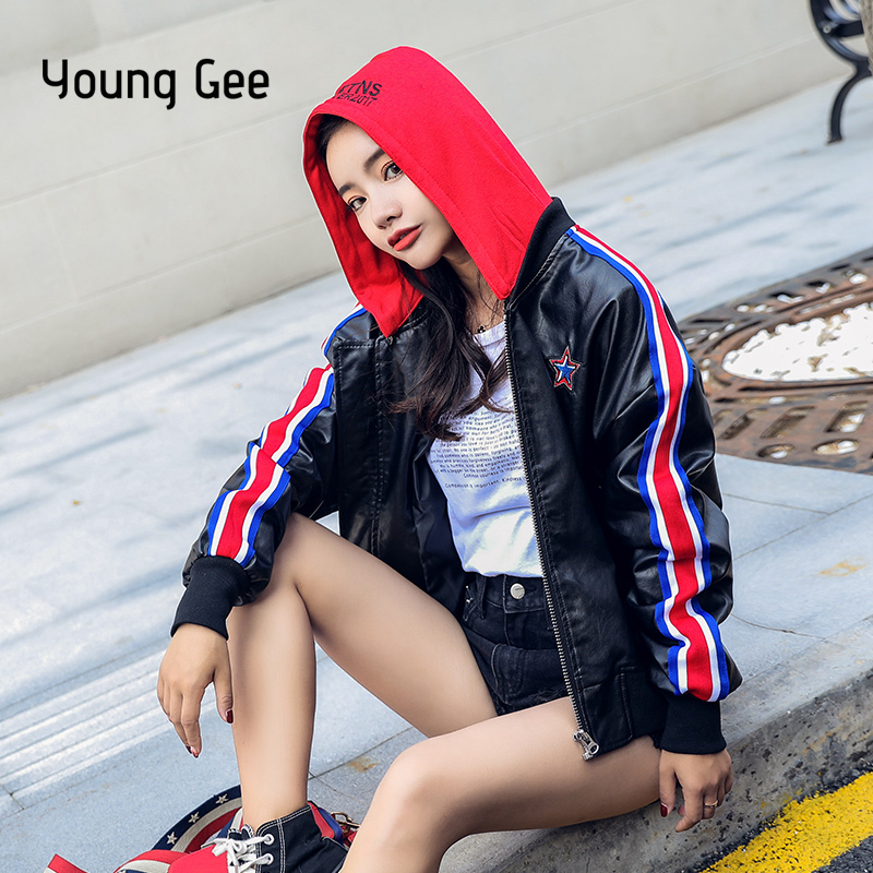 Young Gee Women Hoodies Faux   Leather   Coats Winter Autumn Black Motorcycle Outerwear PU Jackets for Girls Overcoat chaqueta mujer
