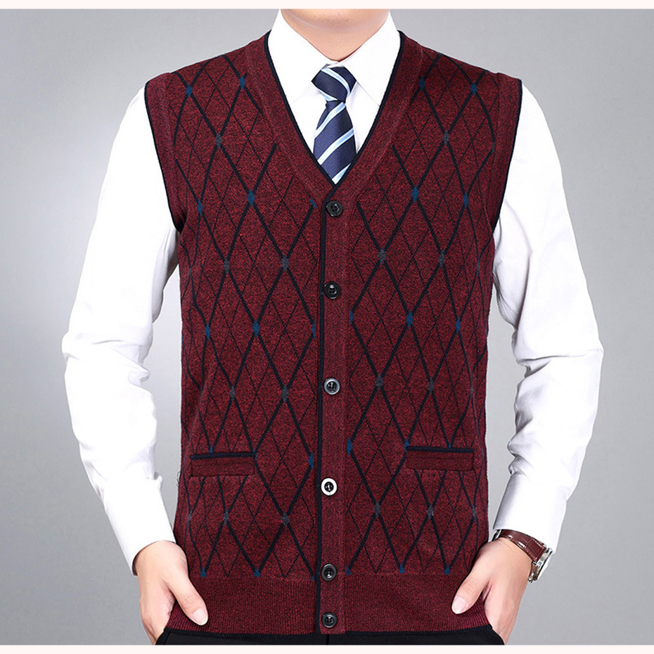 New Men's Brand Wool Knit Vest V Neck Fashion Casual Basic Cardigan Sleeveless Sweater For Autumn Winter Tops K1803