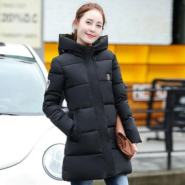 Fashion Winter Cotton Padded Jacket Hoodies Long Style Hood Slim Parkas Plus Size Thicken Female Outerwear