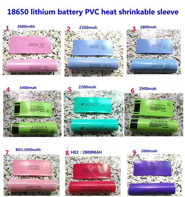 100ピース/ロット18650リチウム電池パッケージスリーブ、収縮スリーブ、バッテリーカバー、pvcシース熱収縮フィルム3400mah