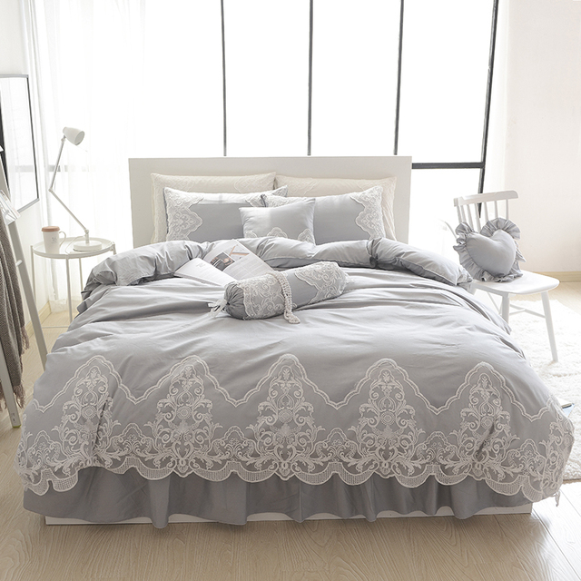 Grey Pink Blue Purple Cotton Lace Bedding Set Full Queen King Size Duvet Cover Sets
