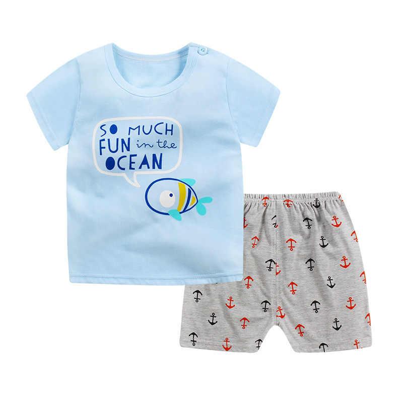 Комплекты для детей летняя одежда маленьких девочек мальчиков с изображением