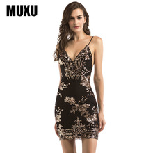 MUXU sexy summer black sequin dress patchwork vestidos kleider short sundress fashion sukienka suspender streetwear