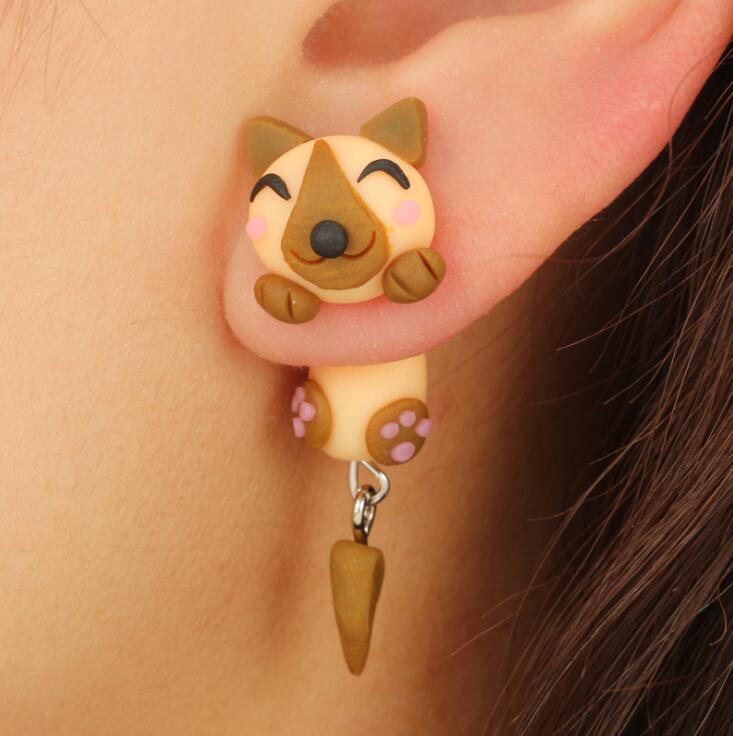 2018 New Handmade Polymer Clay 3D Cartoon Brown Dog Stud Earrings For Women Children Animal Earrings Fashion Jewelry Brincos