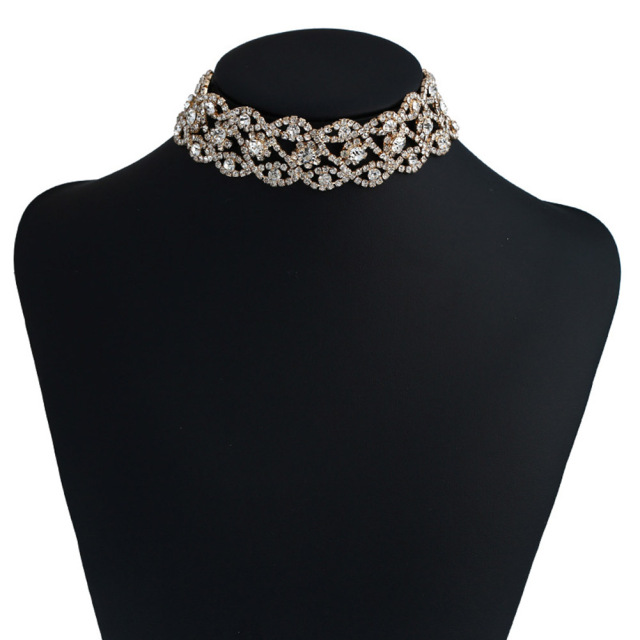 Fashion Luxury Full Big Rhinestone choker Crystal statement necklace Women  Chokers Chunky Necklace Collier Wedding jewellery d8a78f0f869e