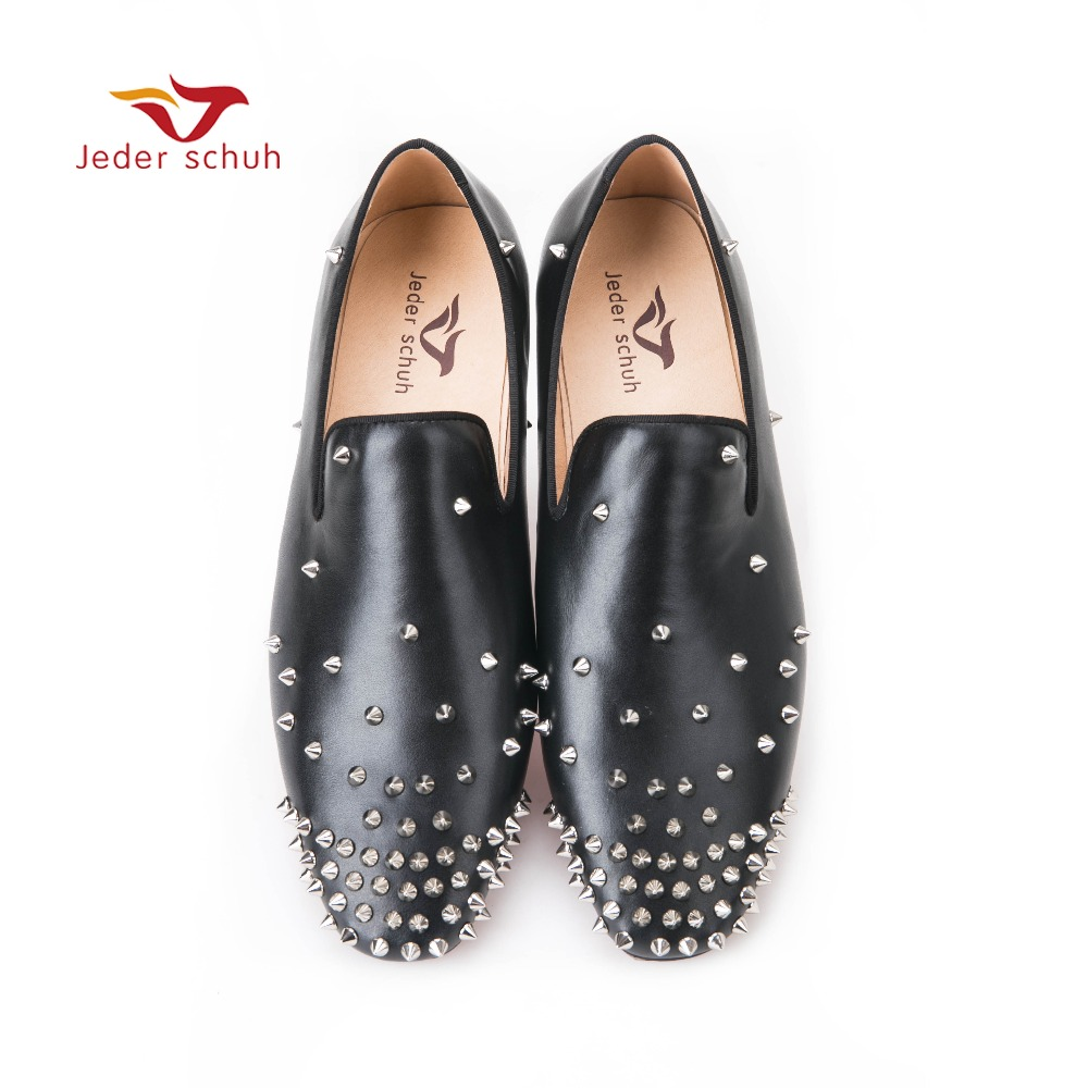 Jeder Schuh Italy design New fashion loafers wedding and banquet shoes, rivet ornaments leather material Handmade men flats yt0265 italy 2014 renewable energy and sustainable development falls volcano 1ms new 0521