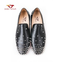 Jeder Schuh Italy design New fashion loafers wedding and banquet shoes, rivet ornaments leather material Handmade men flats