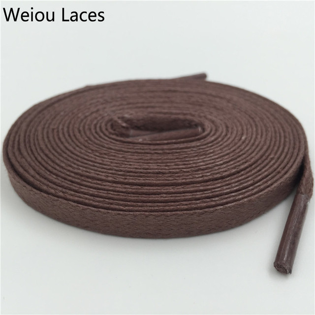 Weiou Quality Flat Waxed Shoelace 8mm Width Unisex Shoestrings Cord 100% Cotton Shoe Lace For Leather Shoes Boots Free Shipping